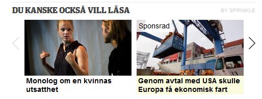 Screenshot av två rekommenderade texter, den ena är dock reklam.
